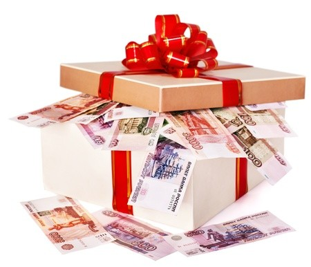 10852909 - gift box with money (russian rouble). isolated.