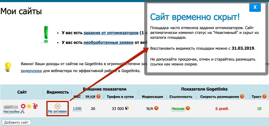 Gogetlinks и отмены заданий