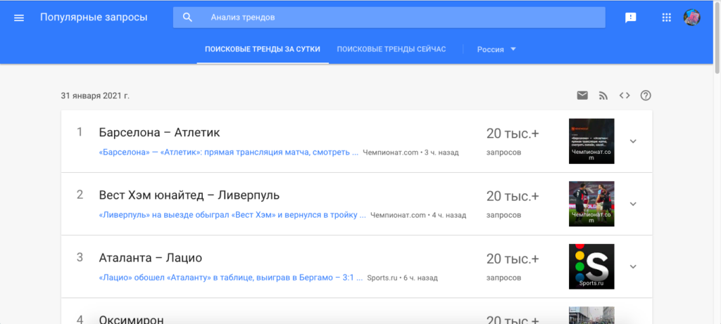Работа с Google Trends